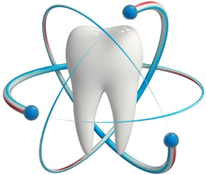 Icon of a tooth with atoms flying around it | Avalon Dental, your Carson and El Segundo Dentist